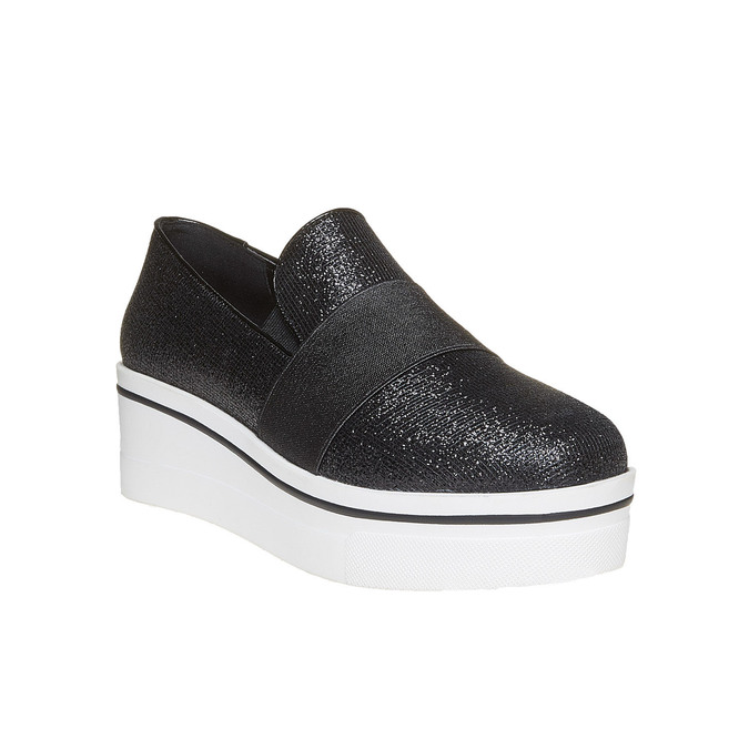Slip-on femme à Flatform north-star, Noir, 519-6141 - 13