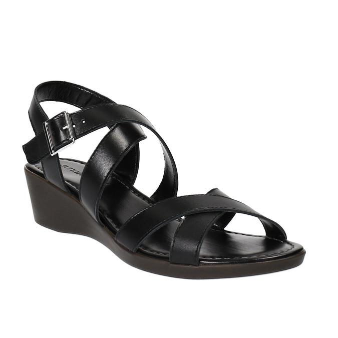 Sandale en cuir à talon compensé sundrops, Noir, 564-6400 - 13