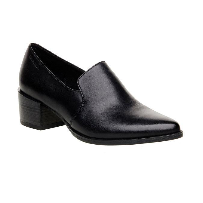 Chaussure basse en cuir à talon vagabond, Noir, 614-6006 - 13