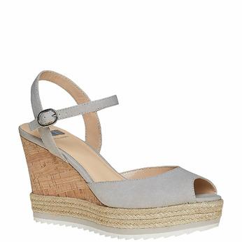 Sandale à plateforme bata, Gris, 761-2520 - 13