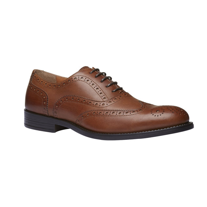 Chaussure lacée en cuir avec décoration Brogue bata, Brun, 824-3801 - 13
