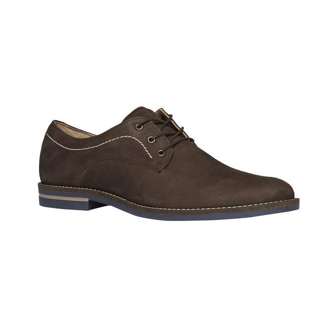 Chaussure lacée en cuir surpiquée bata, Brun, 826-4642 - 13