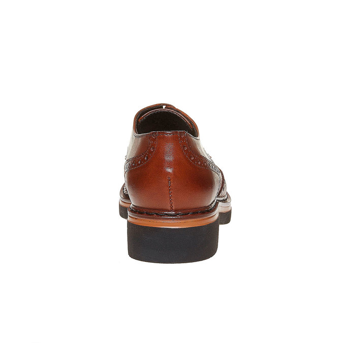 Chaussure lacée en cuir femme à semelle épaisse bata, Brun, 524-3356 - 17