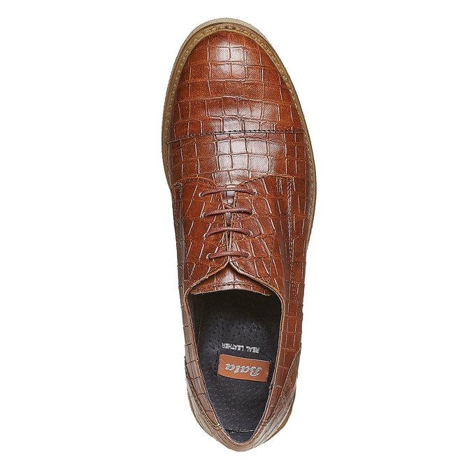 Chaussure lacée femme imitation cuir de crocodile bata, Brun, 521-3317 - 19