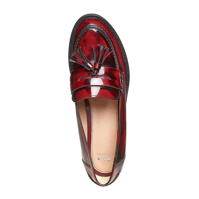 Loafers en cuir avec houppes bata, Rouge, 514-5246 - 19