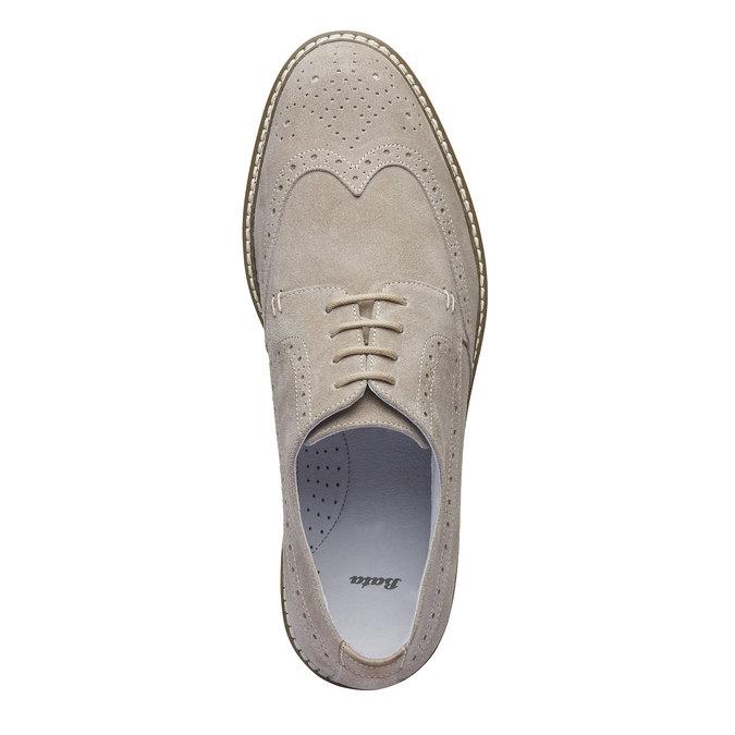 Chaussure lacée en cuir avec décoration Brogue bata, Jaune, 823-8603 - 19