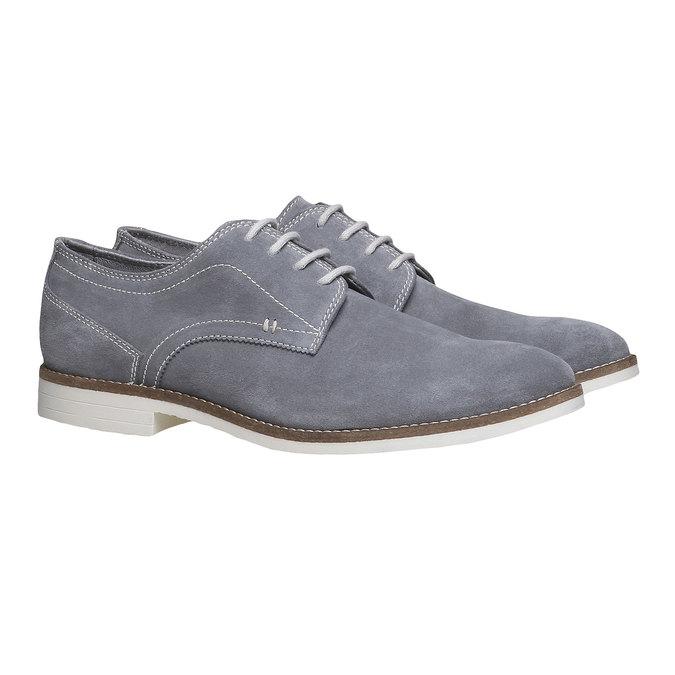 Chaussure lacée Derby en cuir bata, Gris, 823-2558 - 26
