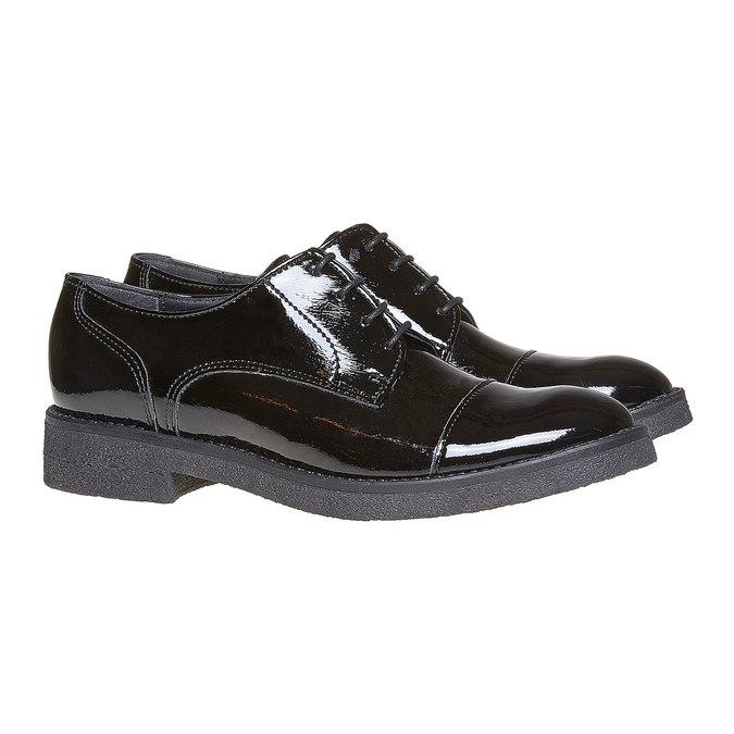 Chaussure lacée vernie femme bata, Noir, 521-6317 - 26