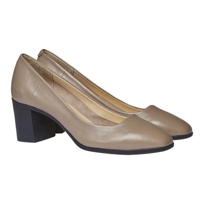 Escarpin en cuir pour femme flexible, Gris, 624-2706 - 26