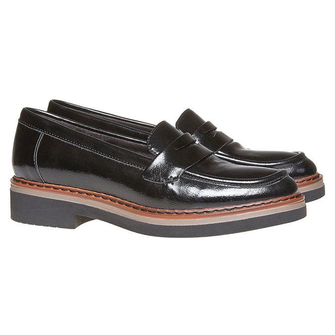 Loafers femme à semelle épaisse bata, Noir, 511-6239 - 26
