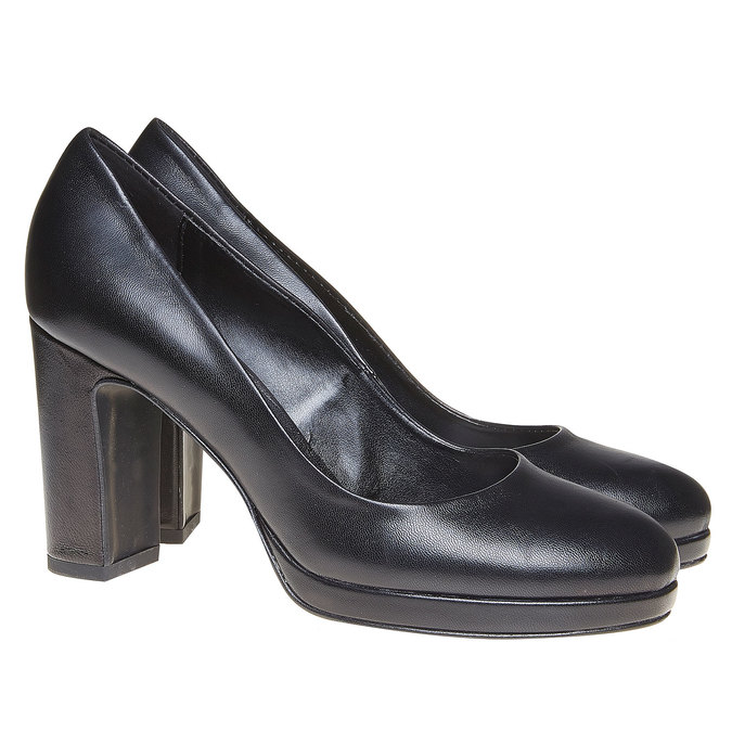 Escarpin en cuir noir pour femme bata, Noir, 724-6500 - 26