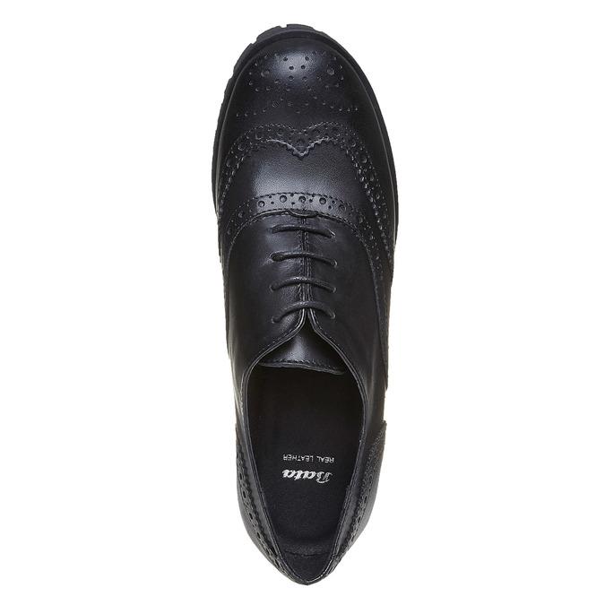 Chaussure lacée en cuir pour femme bata, Noir, 524-6165 - 19