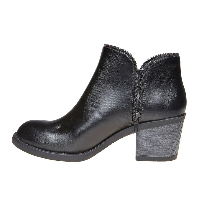Bottines à talon large bata, Noir, 691-6223 - 19