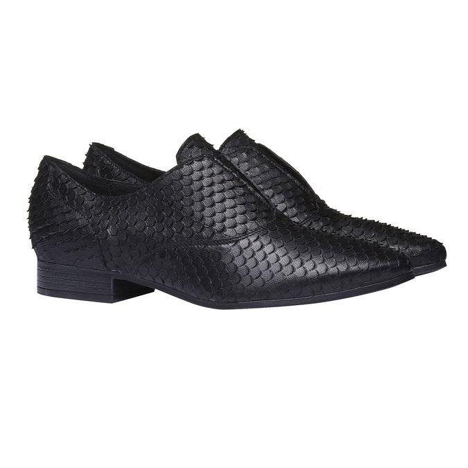 Chaussure lacée en cuir pour femme bata, Noir, 514-6212 - 26