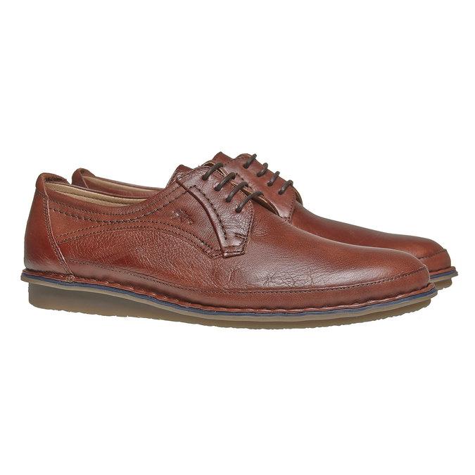Chaussure lacée décontractée en cuir fluchos, Brun, 824-3866 - 26