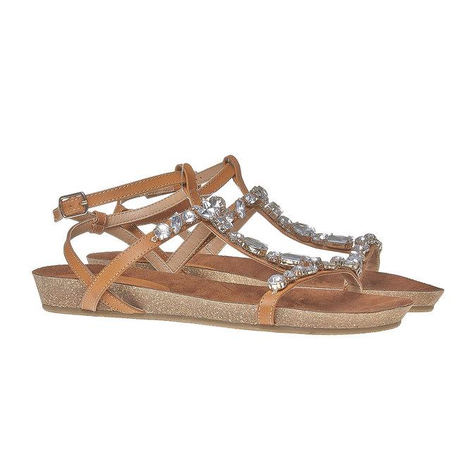 Sandale femme avec petites pierres bata, Brun, 561-3380 - 26