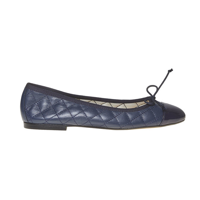 Ballerine en cuir avec surpiqûre bata, Bleu, 524-9431 - 15