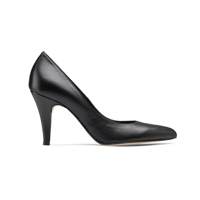 Escarpin pointu en cuir noir bata, Noir, 724-6607 - 26