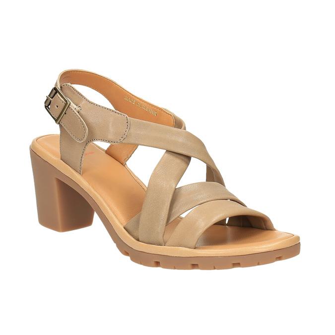 Sandale en cuir femme flexible, Brun, 764-8538 - 13