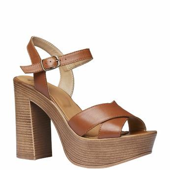 Sandale femme avec lanières en cuir bata, Brun, 764-4511 - 13