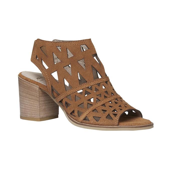 Sandale en cuir à talon large bata, Jaune, 763-8532 - 13