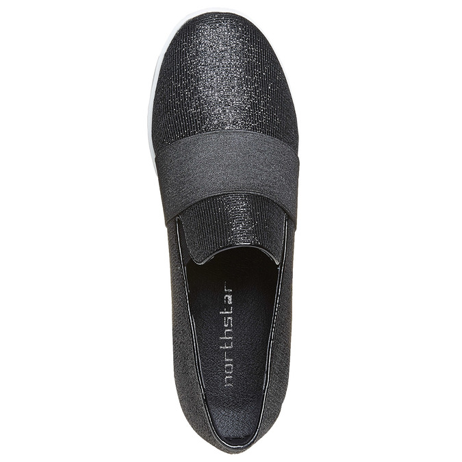 Slip-on femme à Flatform north-star, Noir, 519-6141 - 19