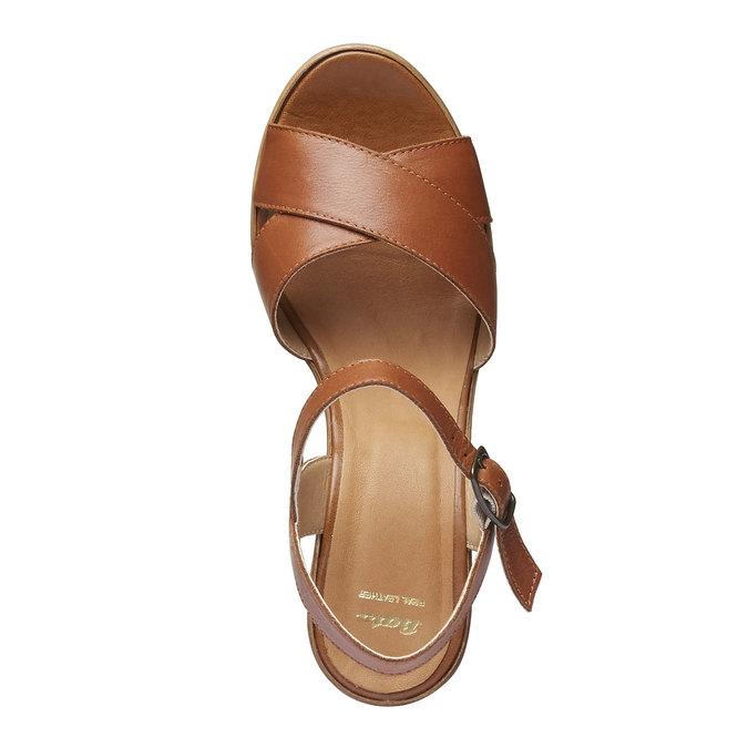 Sandale femme avec lanières en cuir bata, Brun, 764-4511 - 19