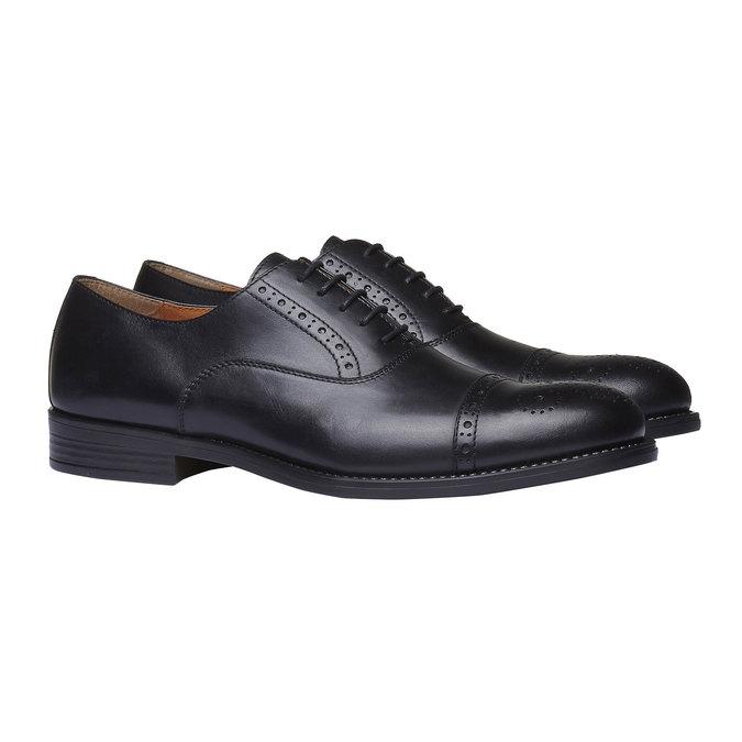 Chaussure lacée en cuir avec décoration Brogue bata, Noir, 824-6803 - 26