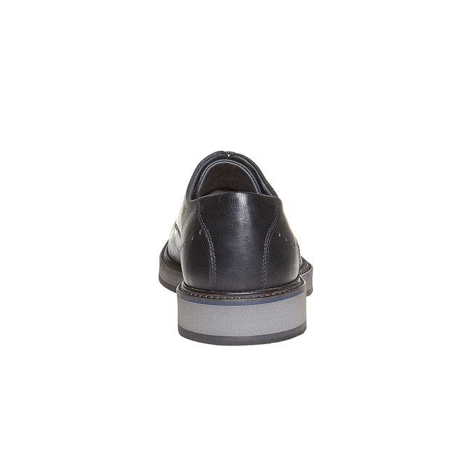 Chaussure lacée en cuir à semelle épaisse bata-light, Noir, 824-6643 - 17