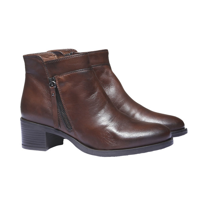 Bottines en cuir bata, Brun, 694-4166 - 26
