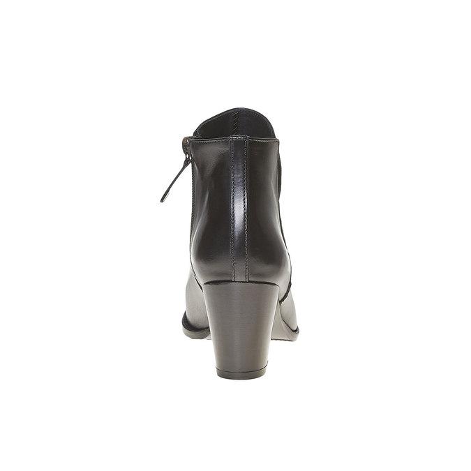 Bottine en cuir à talon bata, Noir, 794-6597 - 17