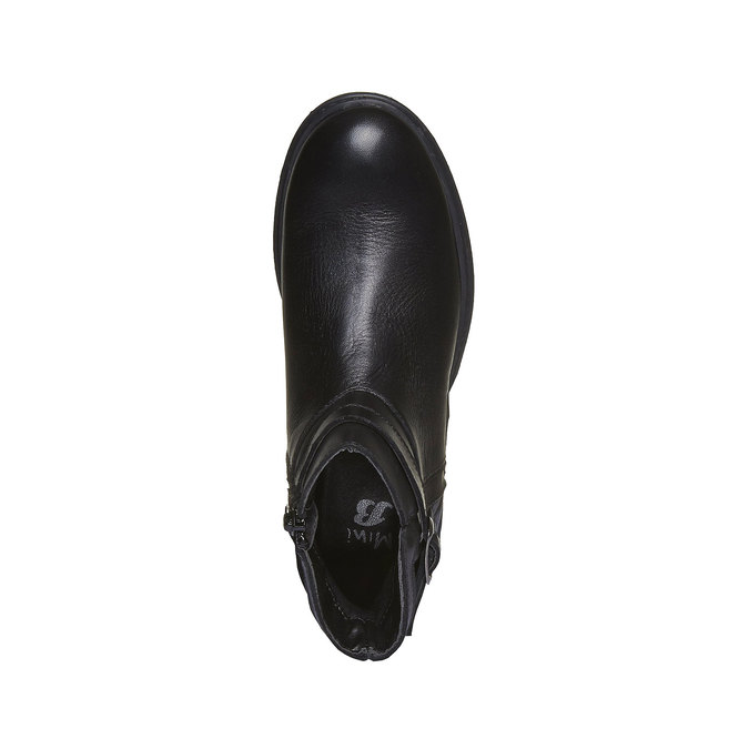 Bottine en cuir surpiquée mini-b, Noir, 394-6233 - 19