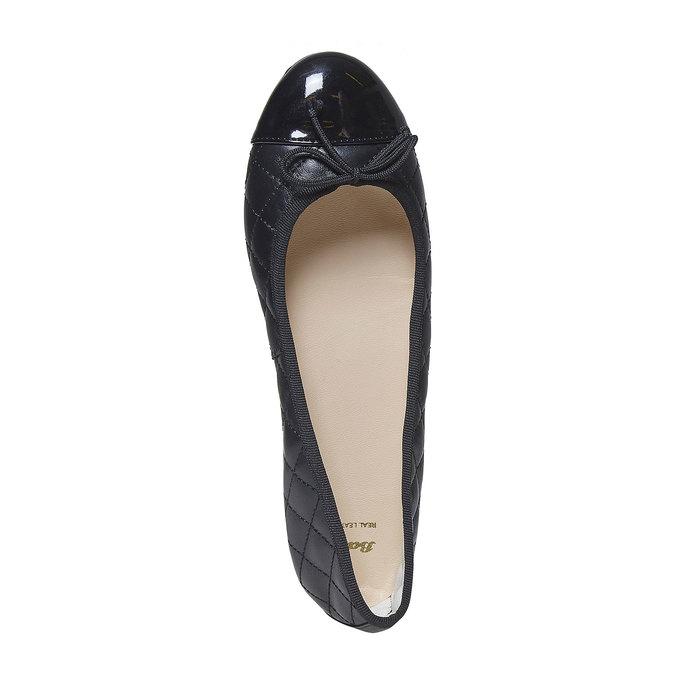 Ballerine matelassée en cuir bata, Noir, 524-6431 - 19