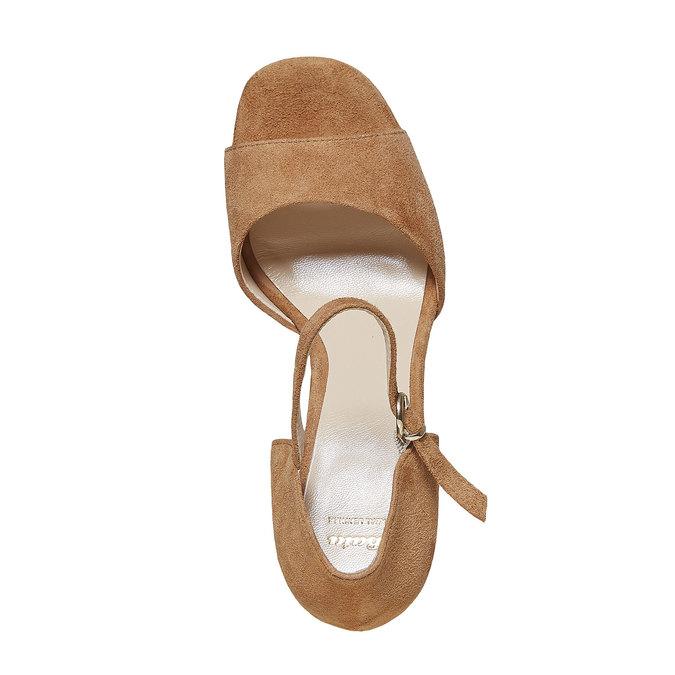 Sandale en cuir à talon massif bata, Brun, 763-3568 - 19