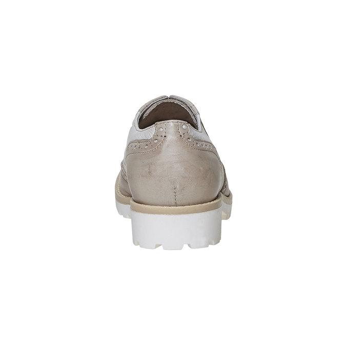 Chaussure lacée en cuir décoration Brogue bata, Gris, 524-2129 - 17