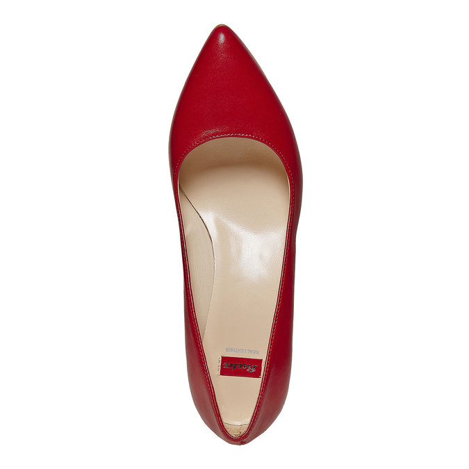 Escarpin rouge en cuir bata, Rouge, 724-5482 - 19