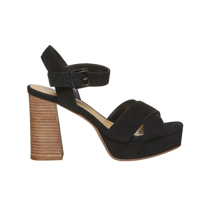 Sandale noire à talon effet bois insolia, Noir, 763-6502 - 15