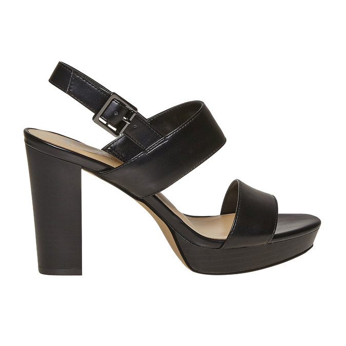 Sandale noire à talon massif insolia, Noir, 761-6727 - 15