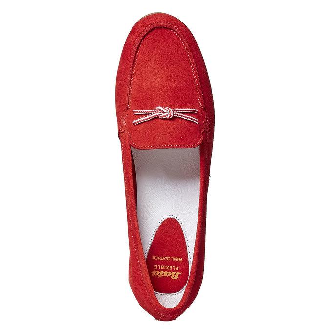 Mocassin à lacet en cuir pour femme flexible, Rouge, 516-5276 - 19