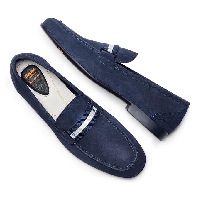 Mocassin en cuir bleu flexible, Violet, 853-9172 - 26