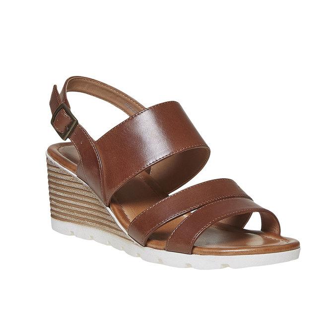 Sandale en cuir à plateforme bata, Brun, 764-3585 - 13