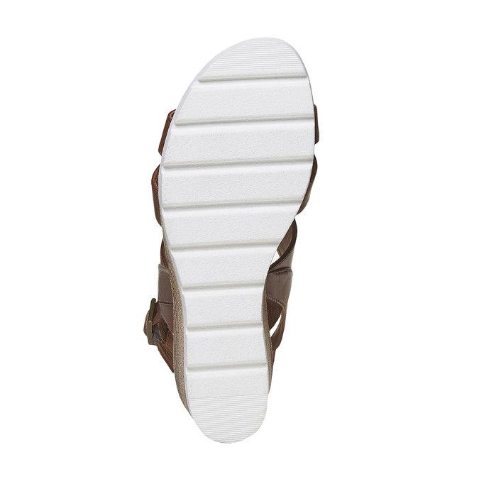 Sandale en cuir à plateforme bata, Brun, 764-3585 - 26