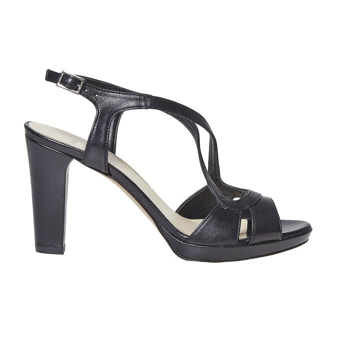 Sandale en cuir femme bata, Noir, 764-6587 - 15