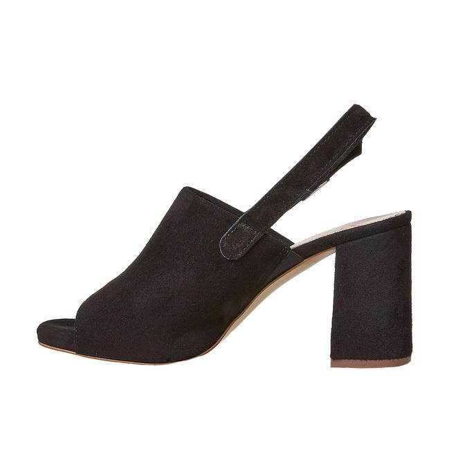 Sandale en cuir à talon stable bata, Noir, 763-6577 - 26