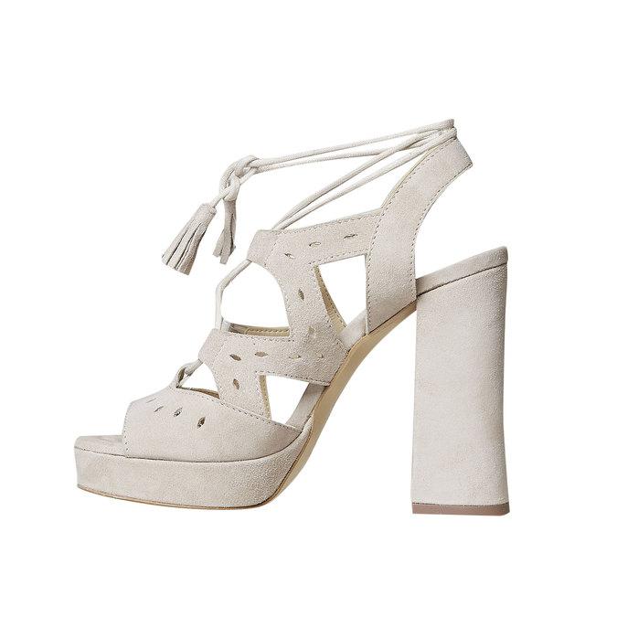 Sandale à lacet en cuir femme bata, Jaune, 763-8580 - 26