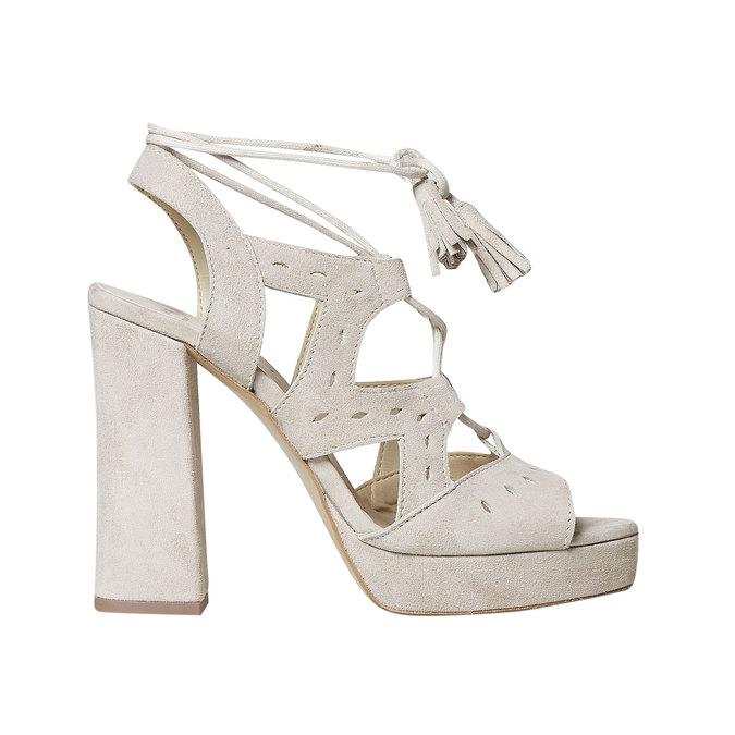 Sandale à lacet en cuir femme bata, Jaune, 763-8580 - 15