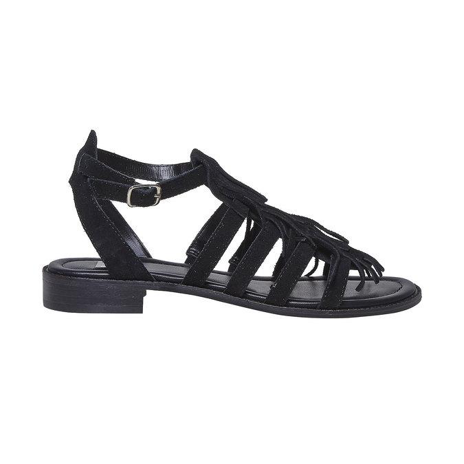Sandale en cuir à franges pour femme bata, Noir, 563-6442 - 15