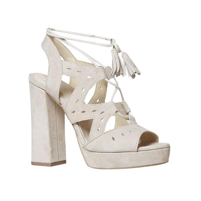 Sandale à lacet en cuir femme bata, Jaune, 763-8580 - 13