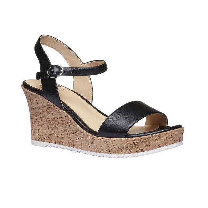Sandale à plateforme pour femme bata, Noir, 761-6523 - 13