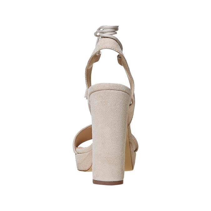 Sandale lacée à talon en cuir bata, Jaune, 763-8581 - 17